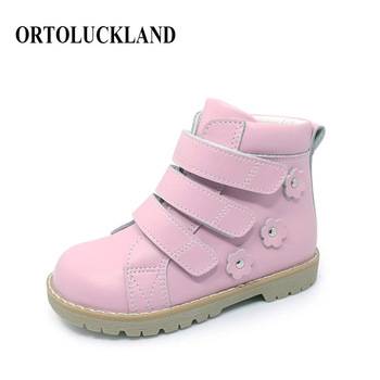 Ortoluckland Cute Girls Casual Shoes Sneakers Toddler Baby Girls Orthotic Shoes Kids Children Anti Slip Pink Flower Dress Shoes
