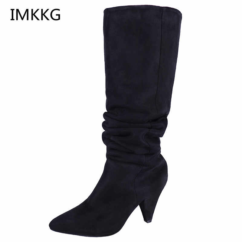 woman chaussure femme chunky high heels shoes women pumps winter knee-high boots Gladiator ladies chaussure femme girls a686