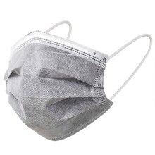 10/50 pces adulto cinza descartável proteccion máscaras anti gás poeira 4 camadas de carvão ativado filtro respirável boca máscara facial