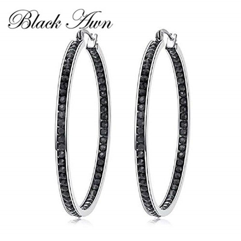 Черный ость Новый Классический 925 стерлингового серебра черного цвета с круглым носком Модные шпинели обручальные серьги-кольца для женщин...