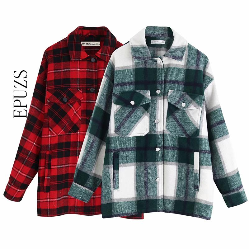 autumn red Plaid coats and jackets women streetwear fashion Long Sleeve office jackets coats Oversized Outerwear 2019(China)