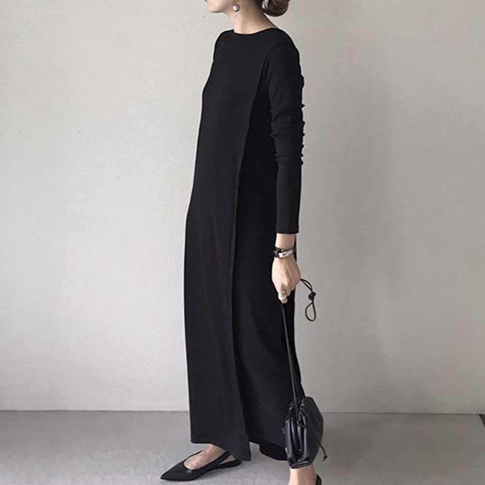 Women Long Dress 2019 Fall Korean Style Long Sleeve Black Basic Pullover Dresses Causal Maxi Robe Office Ladies Loose Vestidos