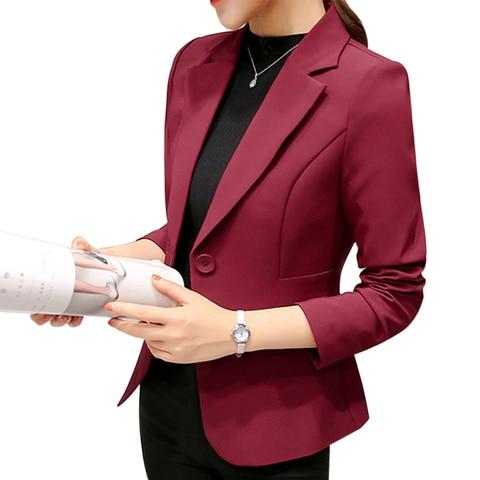 HEFLASHOR 2019 Fashion Office Lady Blazers Women Slim Turn Down Collar Blazer Mujer Retro Button Casual Suit Jackets Autumn Pakistan