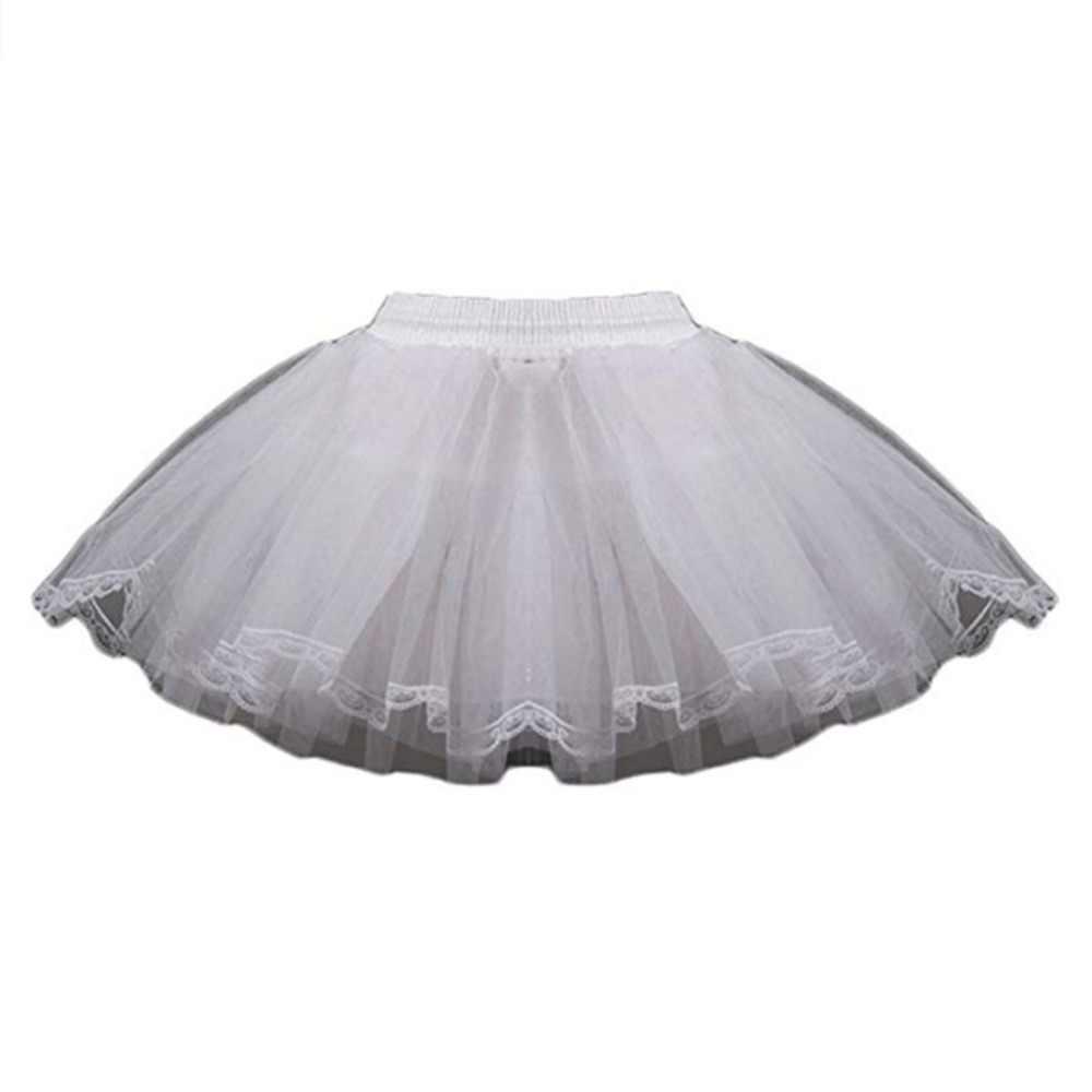 子供ペチコート子供 3 層hooplessショートドレスウェディング女の子/子アンダーロリータバレエチュチュ