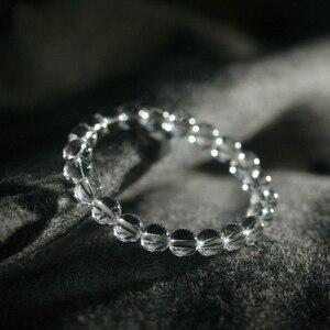 Image 2 - 天然水晶 0.8 センチメートルロッククリスタルホワイトクォーツビーズチベット仏祈りマラのブレスレット仏教ジュエリー