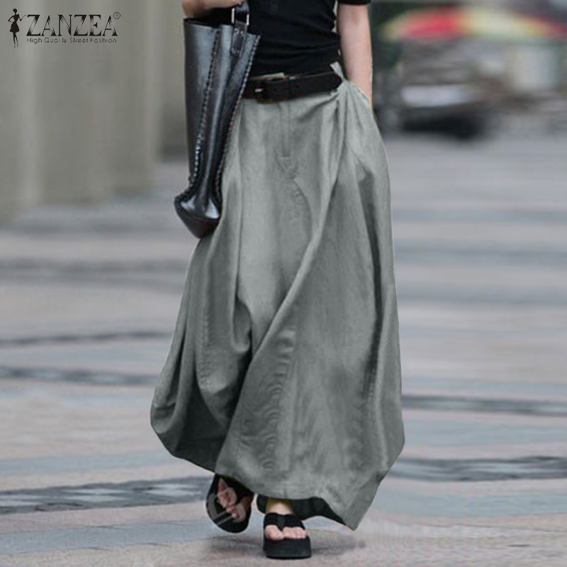 2020 Vintage Summer Skirts ZANZEA Women High Waist Solid Cotton Linen Skirt Saia Female Beach Maxi Long Skirts Jupe Faldas 5XL 7