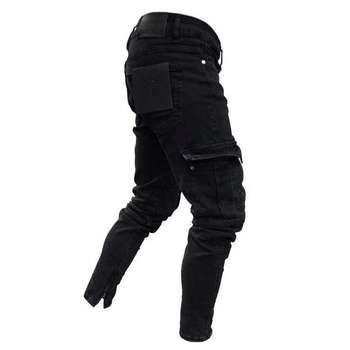 2020  hot sale stretch men's jeans trend knee hole zipper small feet trousers