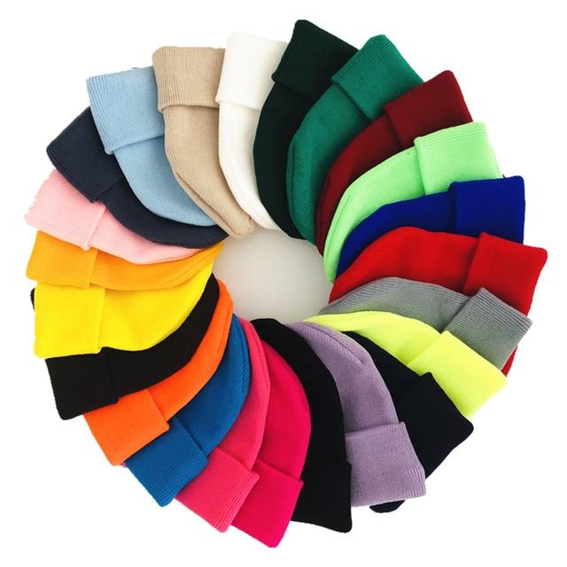Solid Knitted Hats for Women Winter Soft Warm Knitted Cap Men Women Skullcap Hats Gorro Ski Caps Fashion Beanies for Women 2021