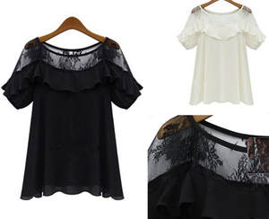 T-Shirts Short-Sleeve Women's Ladies Cutout Casual Chiffon Loose Sexy Hollow-Out New