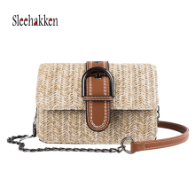 Double woven rattan ladies handbag designer 2019 fashion square beach bag straw shoulder chain summer sloping