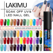 Lakimu 60 Warna Murni Warna Gel Cat Kuku Kuku Seni Rendam Off UV Tahan Lama Gel Varnish Base Coat Tidak Ada lap Top Coat 5 Ml(China)