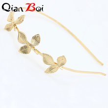 QianBei 1PC Fashion Three Golden Leaves Hair Hoop Alloy Olive Branch Leaf Small Hair Bands Hair Accessories for Girls Women(China)