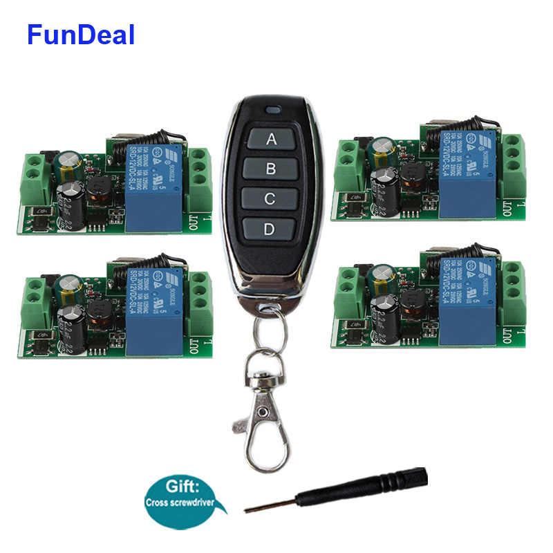 FunDeal 433Mhz evrensel kablosuz RF uzaktan kumanda anahtarı AC 110V 220V 1CH garaj gece lambası alıcı ve 433 MHz uzaktan kumanda