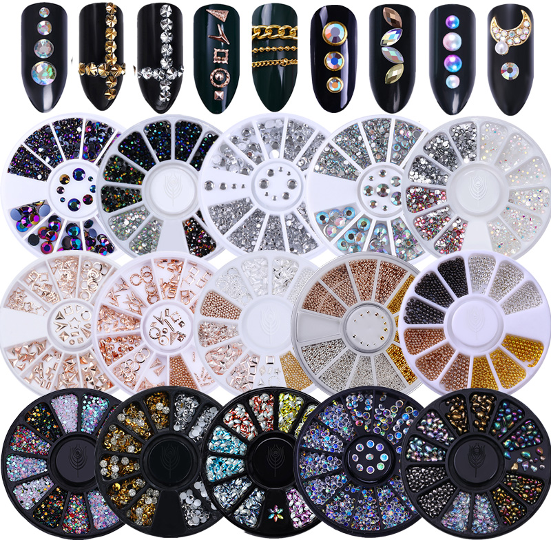 Mixed Color Nail Rhinestone 3D Nail Art Decoration In Wheel White AB Color Small Irregular Beads   Accessories