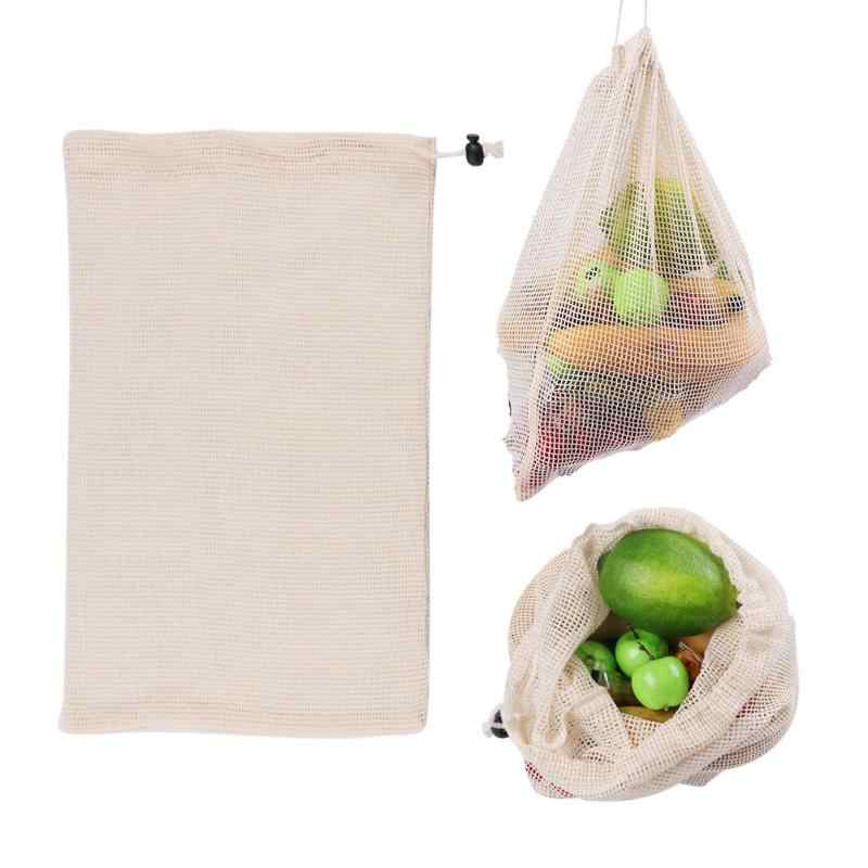 NEW Reusable Organic Cotton Kitchen Fruit Vegetable Mesh Bag Washable Fruit Drawstring Bags With Drawstring Machine Washable