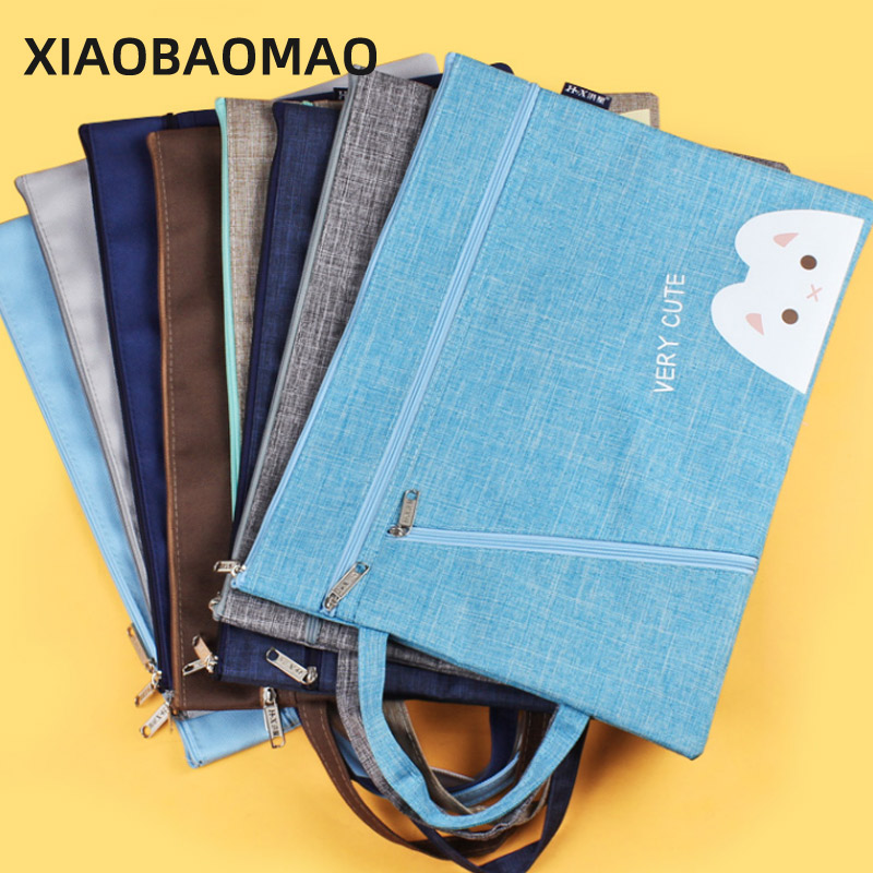 3 layers Cute Cartoon Cat Zipper Document Bag Kawaii Student Oxford Cloth Storage Bag Supplies Escolar Portable File Papelaria