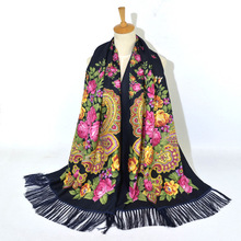 2020 Women's Russian Print Scarf Female Floral Pattern Cotton Scarves Wraps Retro Ukrainian Ladies Fringed National Scarf Shawl outdoor soft checked pattern fringed scarf