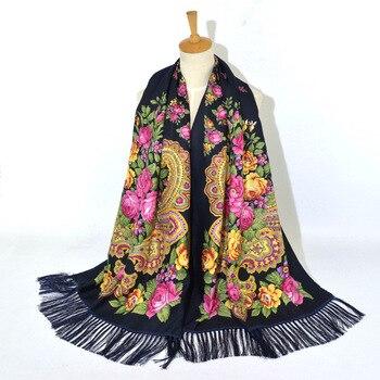 цена на 2020 Women's Russian Print Scarf Female Floral Pattern Cotton Scarves Wraps Retro Ukrainian Ladies Fringed National Scarf Shawl