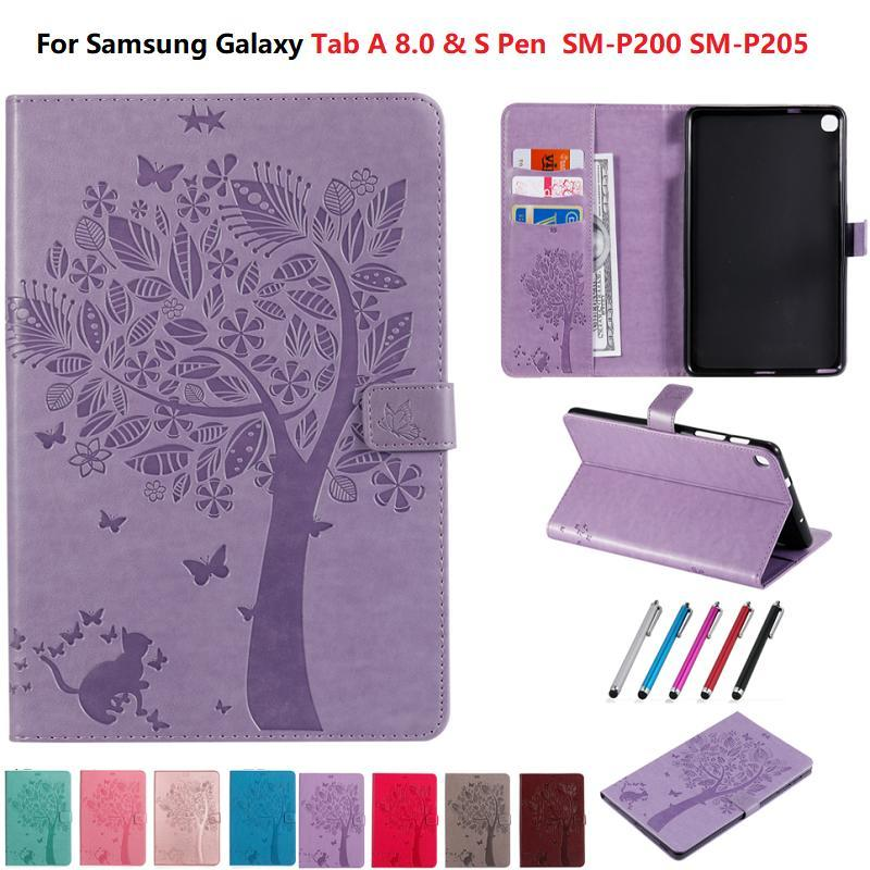 Emboss Tablet Case for Samsung Galaxy Tab A 8 2019 S Pen SM-P200 SM-P205 Wallet Funda for Galaxy Tab A 8 P200 P205 Stand Cover