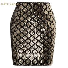 Kate Kasin Vrouwen Rokken Volledige Lovertjes Shiny Mini Rok Elastische Taille Sexy Bodycon Kokerrok Korte Wrap Rok Party Girl(China)