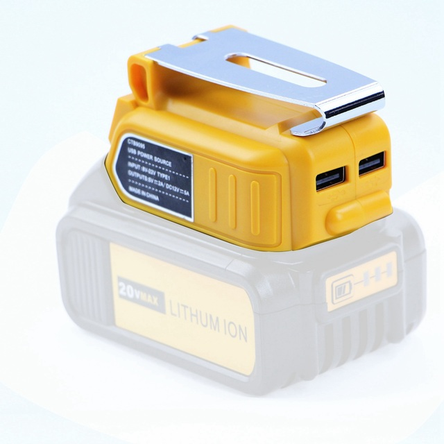 FASDGA podwójny Port USB DC 12V 60W z wyświetlaczem LED klips przetwornica do baterii Adapter do akumulatora litowo-jonowego DEWALT 18V 20V