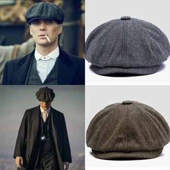 Men beret vintage Herringbone Gatsby Tweed peaky blinders hat Newsboy Beret Hat spring Flat Peaked Beret Hats 1