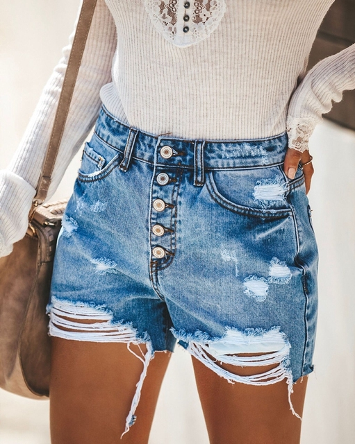 Denim Shorts Jeans Women High Waist Casual Shorts