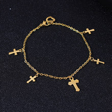 Stainless Steel Gold Amulet Cross Charm Anklet Religious Heart Barefoot Sandals Foot Jewelry For Women Men Gift Dropshiping(China)