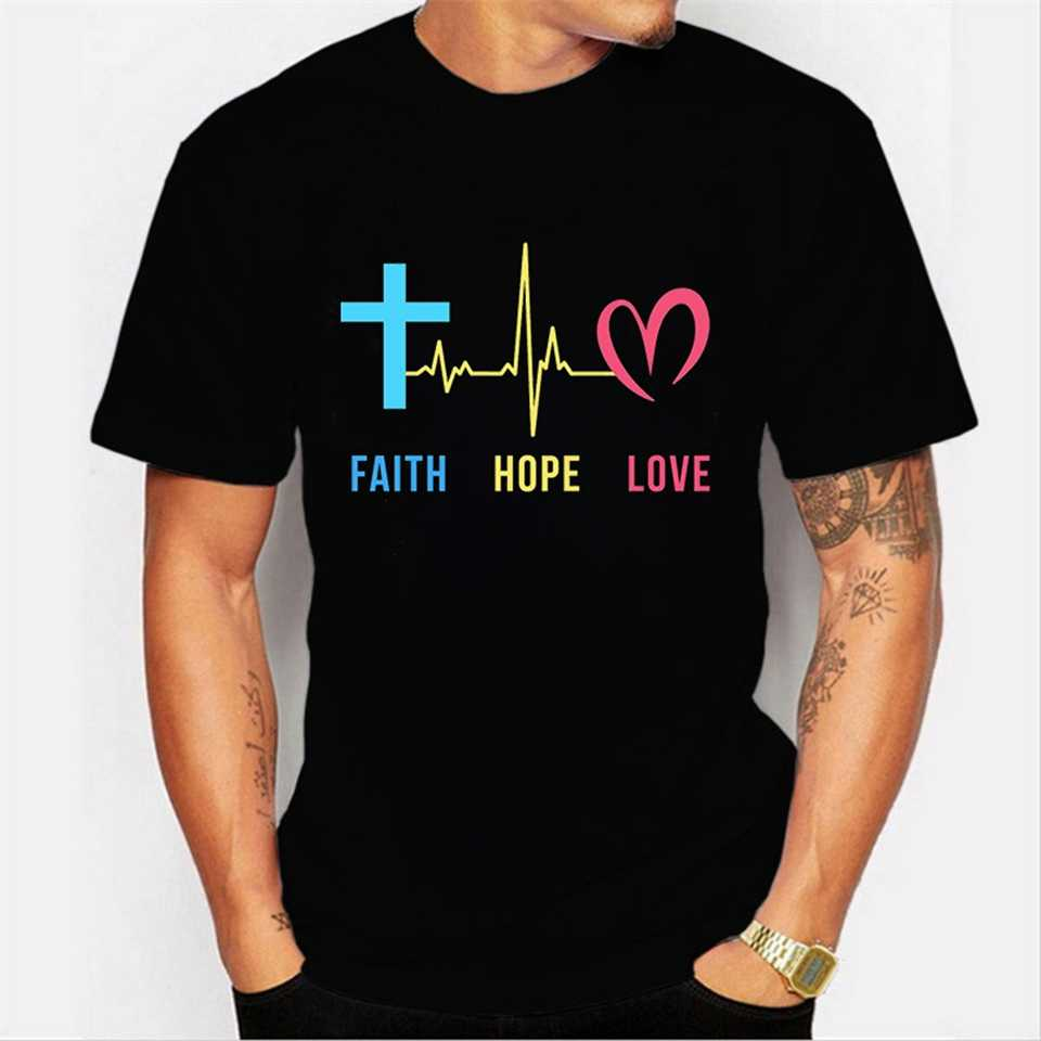Luminous wiara nadzieja miłość T koszula T koszula mężczyzna T-shirt niestandardowy mężczyzna nowość graficzny Tee topy czarny O-neck Tshirt Unisex ubrania