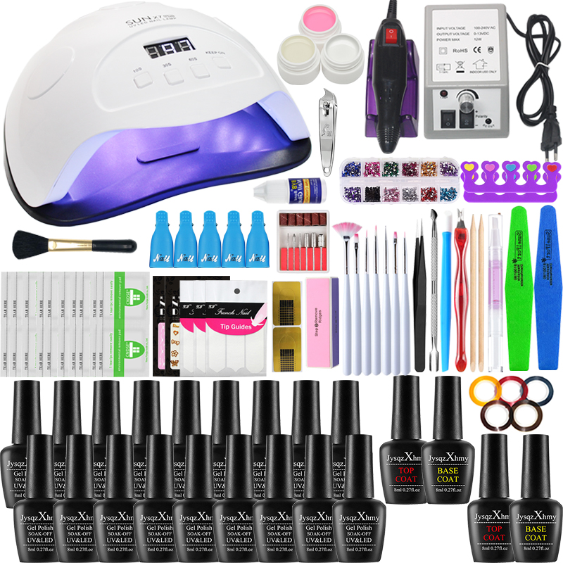 84/54/24W Super Nail Art Manicure Set With LED Nail Lamp Manicure Kit Acrylic 18 Colors Nail Art Nail Tool Set Nail Kit Nail Set