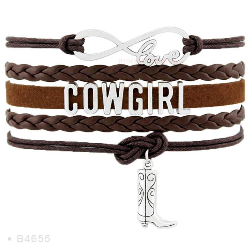 Cowgirl Cowboy Laarzen Hoed Charm Armbanden Infinity Liefde Roze Witte vrouwen Mode Multilayer Lederen Wrap Armbanden