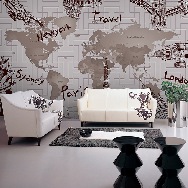 Custom 3D Photo Mural World Map European And American Architectural Non-woven Wallpaper Living Room Hotel Wallpaper