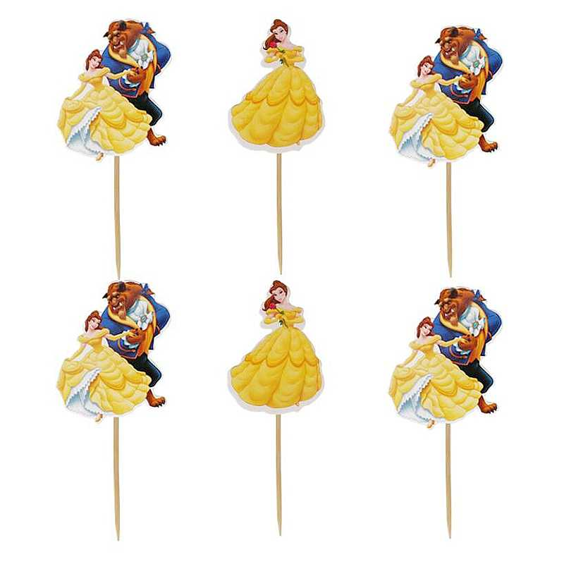 Awe Inspiring Cartoon Beauty And The Beast Cake Toppers Happy Birthday Party Funny Birthday Cards Online Barepcheapnameinfo
