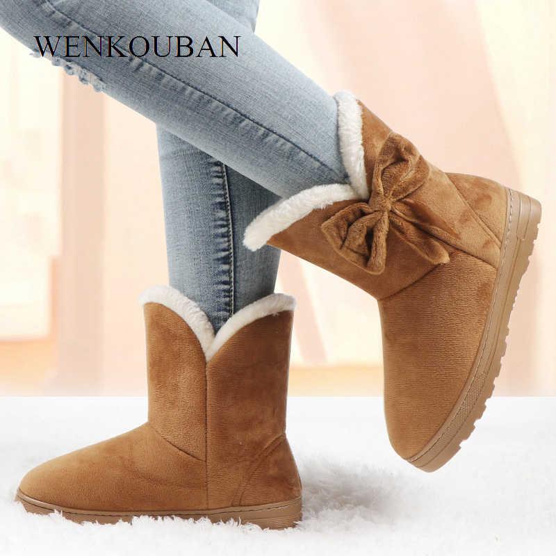 קרסול מגפי נשים חורף שלג חם מגפי Bowtie פלטפורמת מגפי גבירותיי להחליק על נעלי מוצק פרפר Botas Feminina 2020