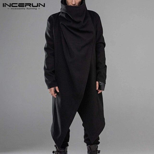 INCERUN Men Cloak Coats Streetwear Turtleneck Solid Long Sleeve Fashion Men Cape Outerwear Punk Style Irregular Jackets S-5XL 3