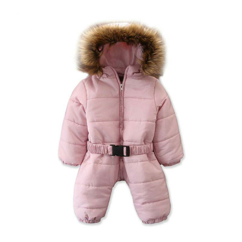 US <font><b>Kid</b></font> Baby Girl Fur Hooded <font><b>Feather</b></font> Down <font><b>Jacket</b></font> Jumpsuit Snowsuit Outwear Outfit image