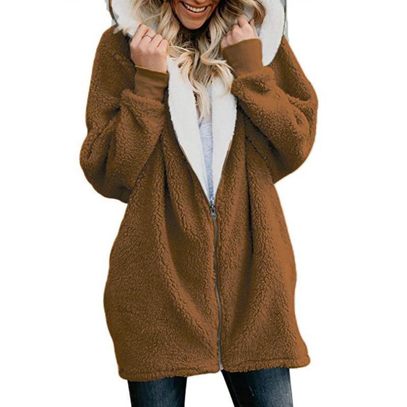 Women Cardigans Faux Fur Ladies Warm Jumper Fleece Faux Fur Coat Hoodie Outwear Femme Plus Size 5XL Women's Jackets Winter Coat