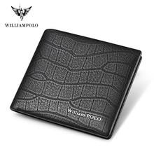 WILLIAMPOLO luxury Brand Men Wallet Short Genuine Leather Cr