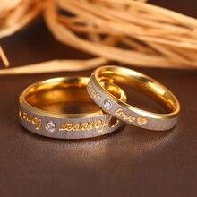 Anel de noivado coração e cristal anel feminino em aço inoxidável ramos para sempre amor anéis de casamento casal eternidade