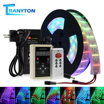 RGB Dream Color cambiable tira LED 5050 Luz de agua que fluye 5M con 133 programa controlador RF luces de hadas de decoración de vacaciones.