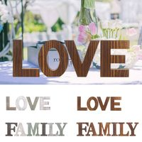 Hot FAMILY LOVE Wooden Letter DIY Craft Art Word Freestanding Party Sign Wedding Home Decoration Event Party Supplies
