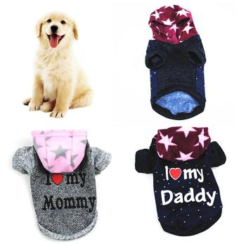 Pet Dog Puppy I Love Daddy Mommy Hoodie Clothes Costume Jacket Coat Apparel Sweater Warm Dog autumn and winter hooded sweater image