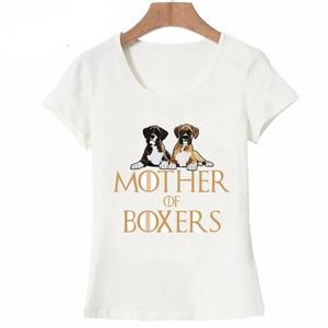 Zabawny projekt matka bokserów T-Shirt dla psów nowy letni damski t-shirt śliczny pies koszule z nadrukiem Tee ładna dziewczyna koszulki z krótkim rękawem