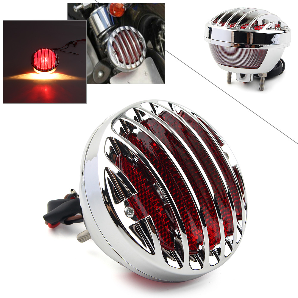 Chrome Motorcycle Tail Brake Red Light LED Lamp Taillight For Harley Davidson Bobber Chopper Rat Hot Custom