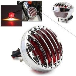 Chrome Motorcycle Tail Brake Red Light LED Lamp Taillight For Harley Davidson Bobber Chopper Rat Hot Custom