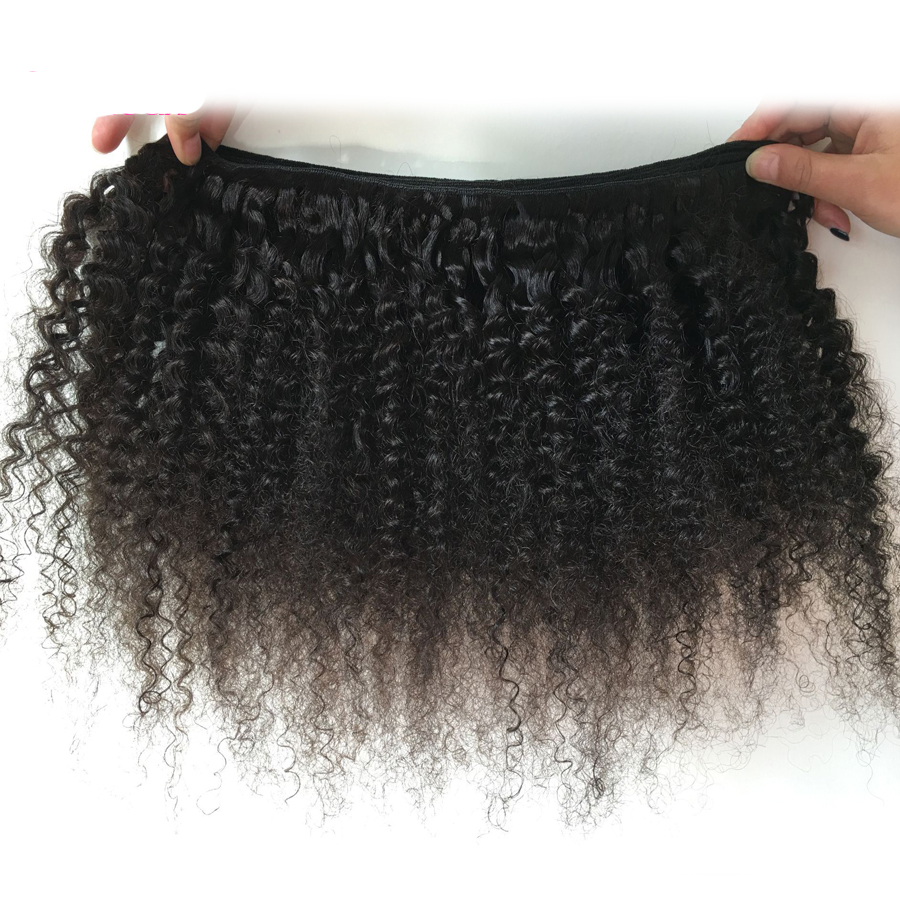 Mongolian Afro Kinky Curly Hair Bundles With Closure NonRemy Human Hair Bundles With Closure 3 Bundles With Closure Medium Ratio