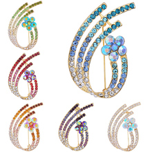 Simple Rhinestone Flower-shaped Rhinestone Brooch With Diamonds For Women Charm Wedding Clothes Jewelry Pin Gifts delicate rhinestone layered flower women s brooch