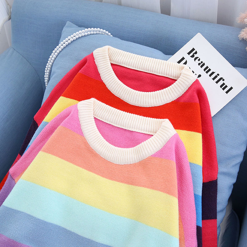 rainbow colorfurl knitted women sweater and pullovers o-neck loose thicken warm lady elegant pulls fashion outwear tops