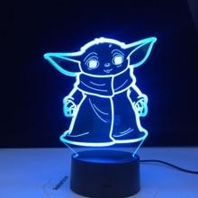Mini Yoda 3d Led Night Light Star Wars Baby Cartoon Figure Nightlight for Kids Child Bedroom