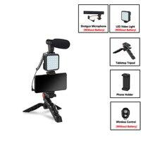 Kondensator Mikrofon Mit Stativ LED Füllen Licht Für Professionelle Foto Video Kamera Telefon Für Interview Live Aufnahme YouTube